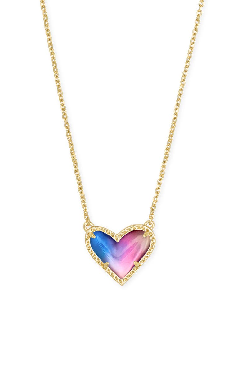 KENDRA SCOTT Ari Heart Pendant Necklace, Main, color, GOLD WATERCOLOR ILLUSION