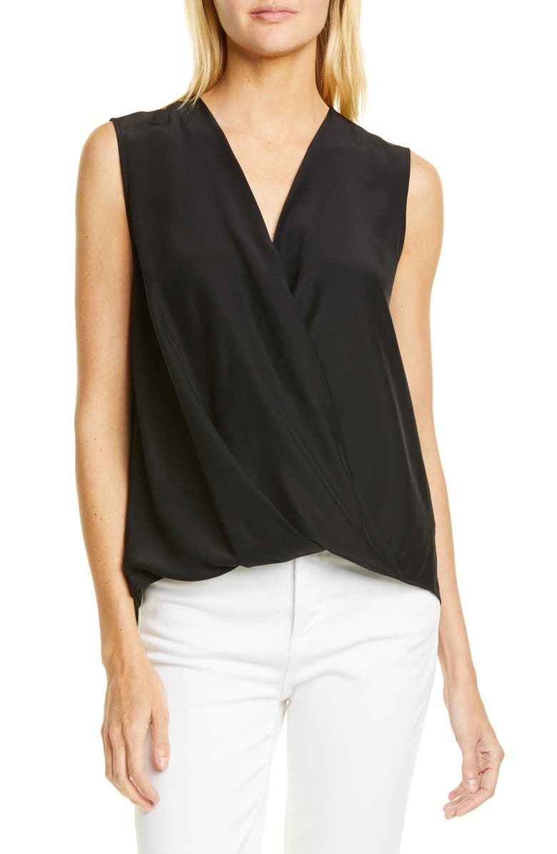 RAG & BONE Victor Sleeveless Silk Blouse, Main, color, BLK