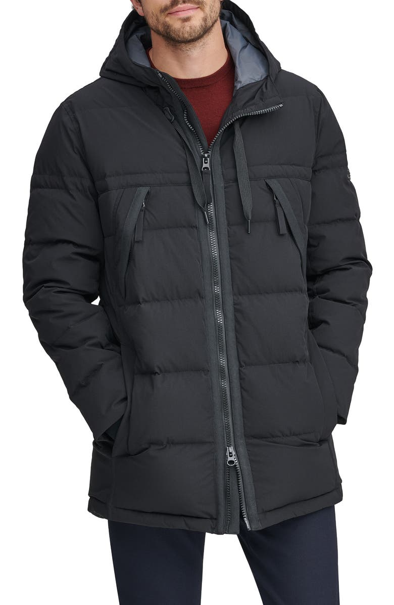 MARC NEW YORK Holden Water Resistant Down & Feather Fill Quilted Coat, Main, color, 001