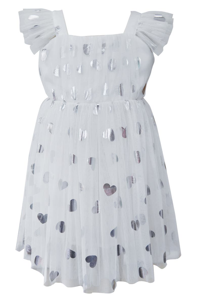 POPATU Silver Heart Embellished Tulle Dress, Main, color, 100