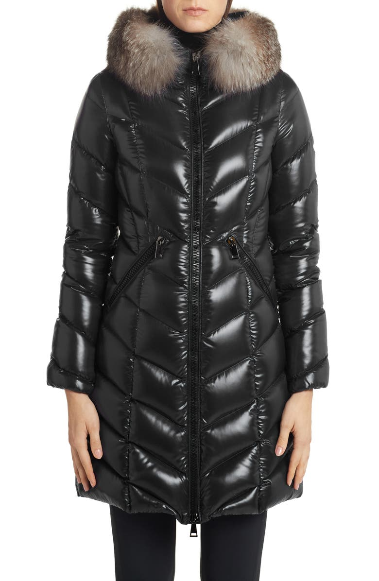MONCLER Fulmarus Quilted Down Puffer Coat with Removable Genuine Fox Fur Trim, Main, color, BLACK