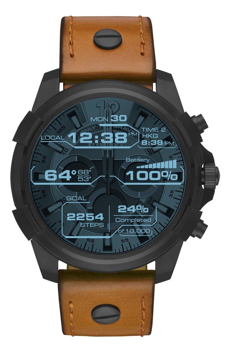 DIESEL<SUP>®</SUP> Full Guard Touchscreen Leather Strap Smartwatch, 48mm x 54mm, Main, color, Black