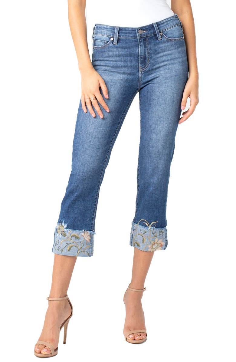 LIVERPOOL Sadie Embroidered Crop Straight Leg Jeans, Main, color, 401