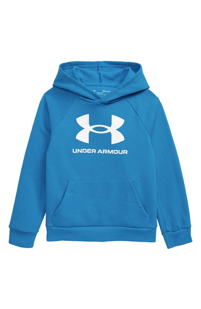 UNDER ARMOUR Rival Fleece Hoodie, Main, color, BLUE CIRCUIT/ ONYX WHITE