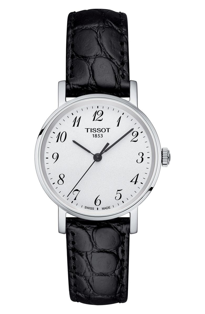TISSOT Everytime Leather Strap Watch, 30mm, Main, color, BLACK/ SILVER