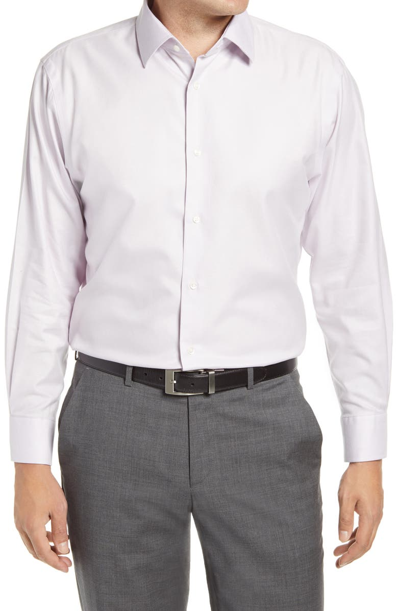 NORDSTROM MEN'S SHOP Nordstrom Traditional Fit Non-Iron Solid Stretch Dress Shirt, Main, color, LAVENDER