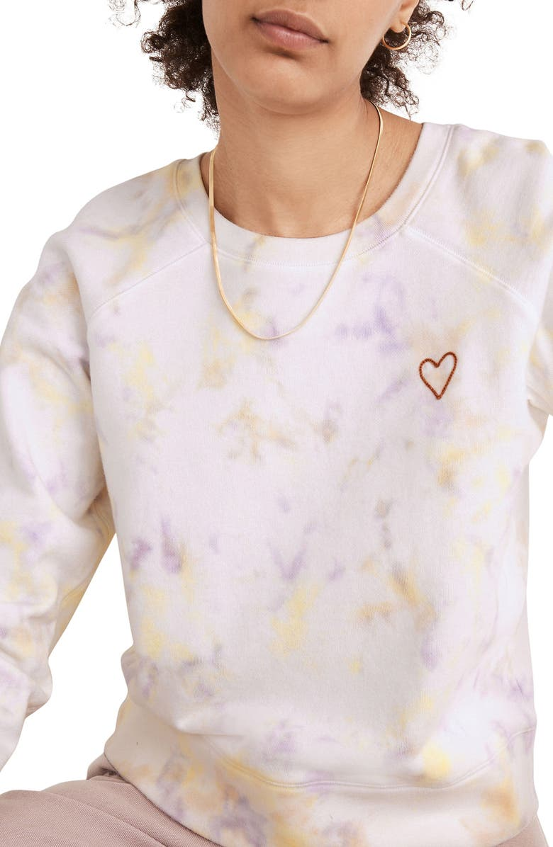MADEWELL Heart Embroidered (Re)sourced Cotton Tie Dye Sweatshirt, Main, color, WARM VIOLET