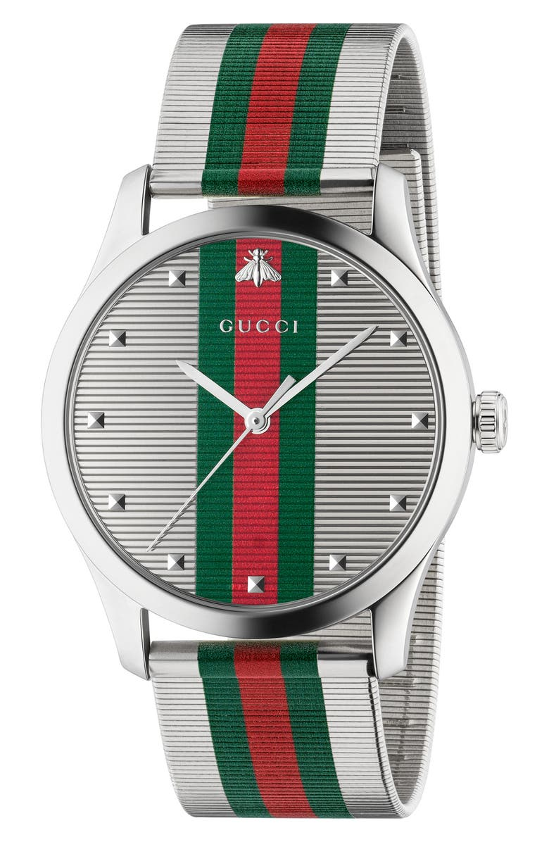 GUCCI G-Timeless Bee Stripe Mesh Band Watch, 42mm, Main, color, SILVER/ GREEN/ RED/ SILVER