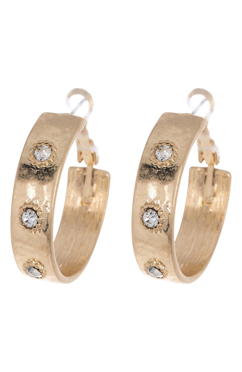 MELROSE AND MARKET 28mm Wide Hoop Earrings, Main, color, CLEAR- GOLD