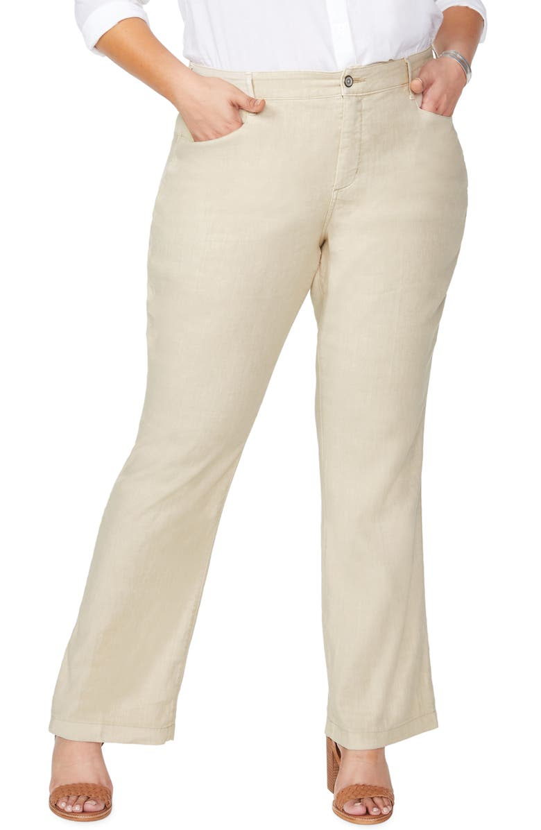 NYDJ Stretch Linen Blend Trousers, Main, color, STRAW