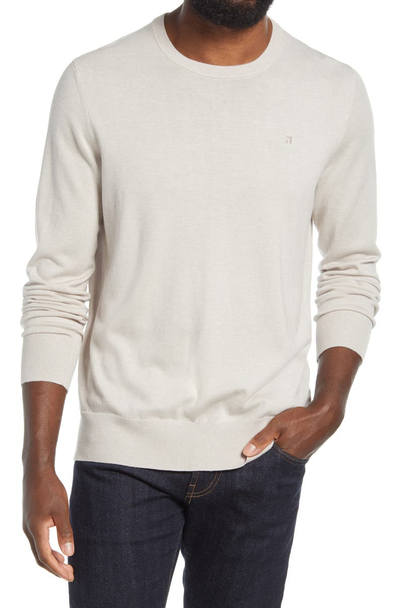 TOMMY JOHN Second Skin Cotton Blend Crewneck Sweater, Main, color, SILVER GRAY