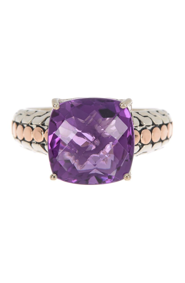EFFY Sterling Silver & 18K Rose Gold Amethyst Ring - Size 7, Main, color, PURPLE