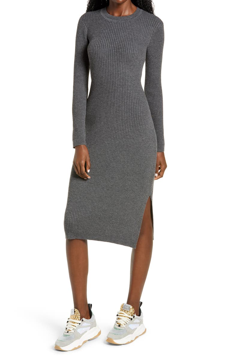 ALL IN FAVOR Ribbed Long Sleeve Midi Dress, Main, color, CHARCOAL