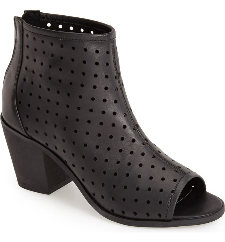 KELSI DAGGER BROOKLYN 'Kyoto' Perforated Leather Peep Toe Bootie, Main, color, Black