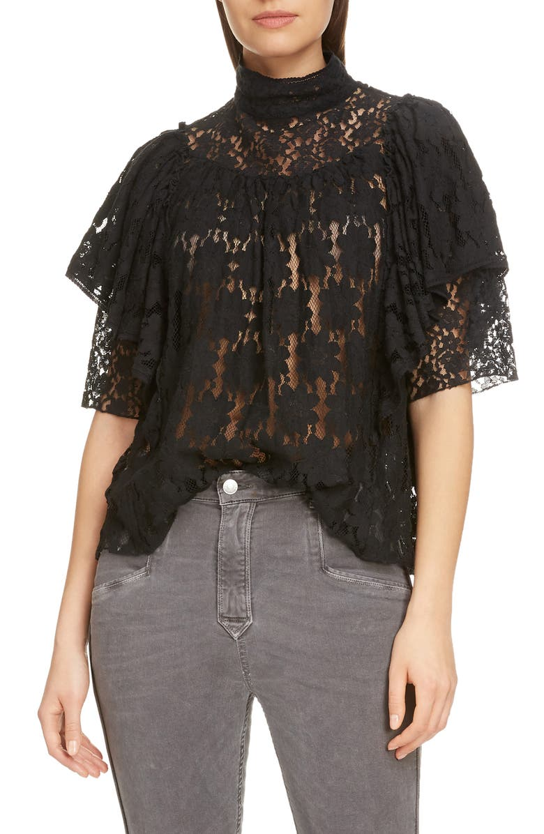 ISABEL MARANT ÉTOILE Vetea Floral Lace Ruffle Top, Main, color, 001