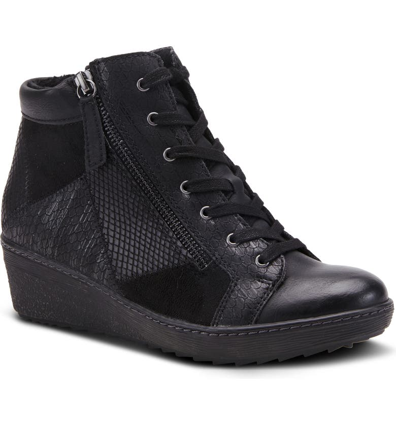 SPRING STEP Lilou Faux Fur Lined Wedge Sneaker, Main, color, BLACK SYNTHETIC