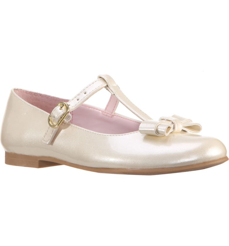 NINA Merrilyn T-Strap Bow Flat, Main, color, IVORY PATENT