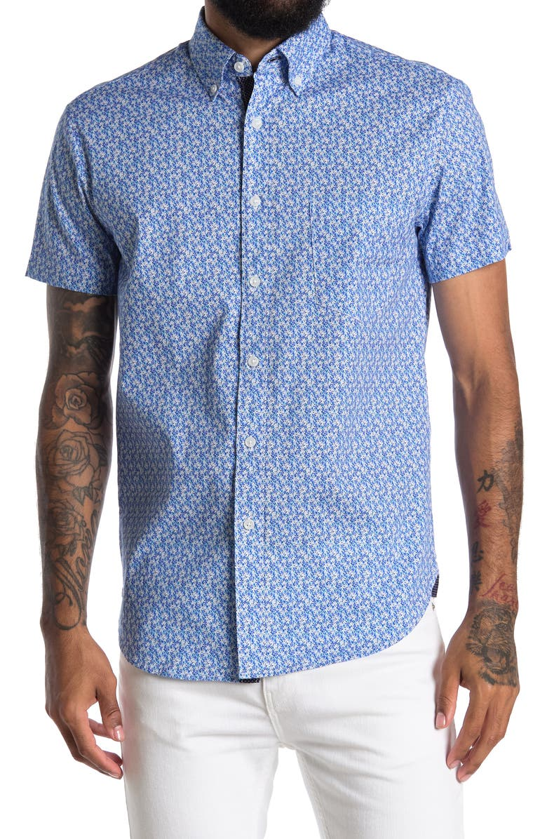 CONSTRUCT Floral Short Sleeve Shirt, Main, color, WHITE/BLUE