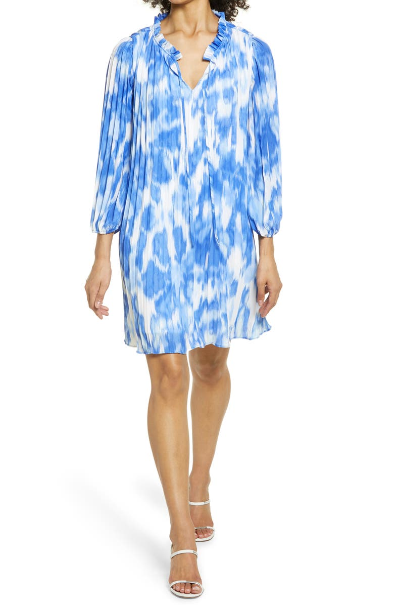 HALOGEN<SUP>®</SUP> Sunburst Pleat Long Sleeve Minidress, Main, color, BLUE- IVORY BRUSH WASH