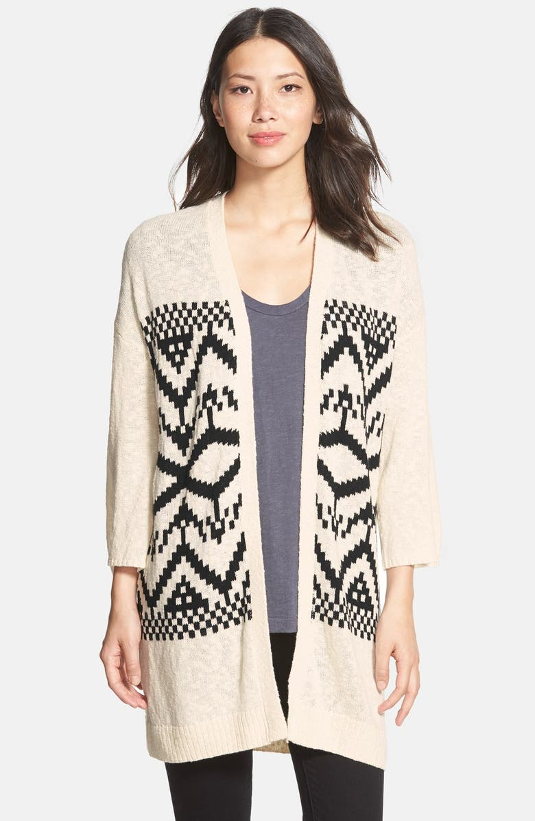 TWO BY VINCE CAMUTO Cotton Blend Oversized Jacquard Cardigan, Main, color, 108
