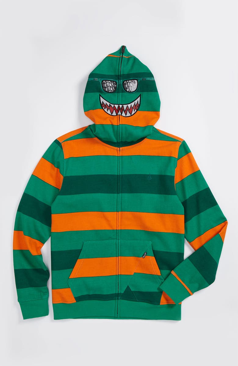 VOLCOM Rugby Stripe Mask Hoodie, Main, color, EMERALD GREEN