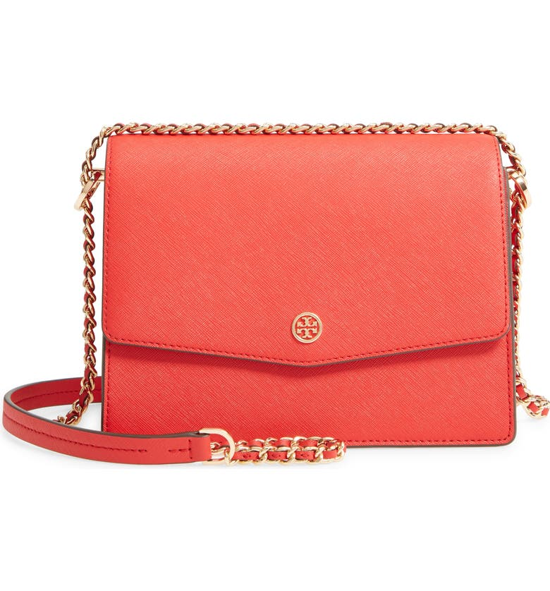 TORY BURCH Robinson Leather Convertible Shoulder Bag, Main, color, BRILLIANT RED