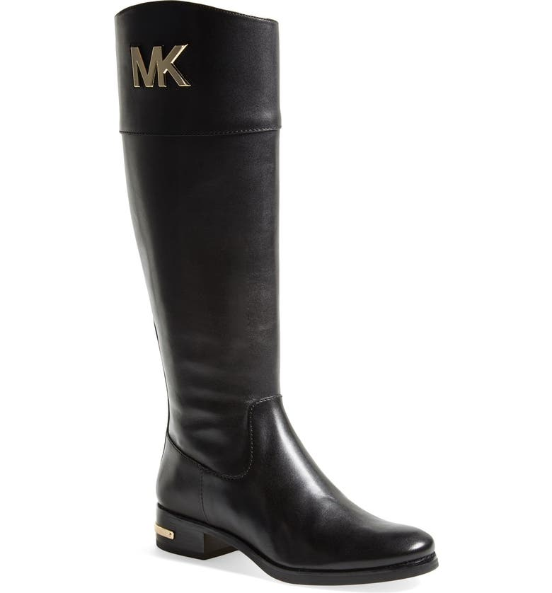 MICHAEL MICHAEL KORS 'Hayley' Leather Boot, Main, color, 001