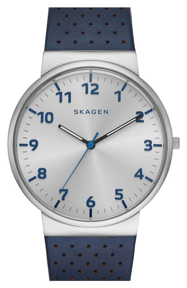 SKAGEN 'Ancher' Perforated Leather Strap Watch, 40mm, Main, color, BLUE/ SILVER