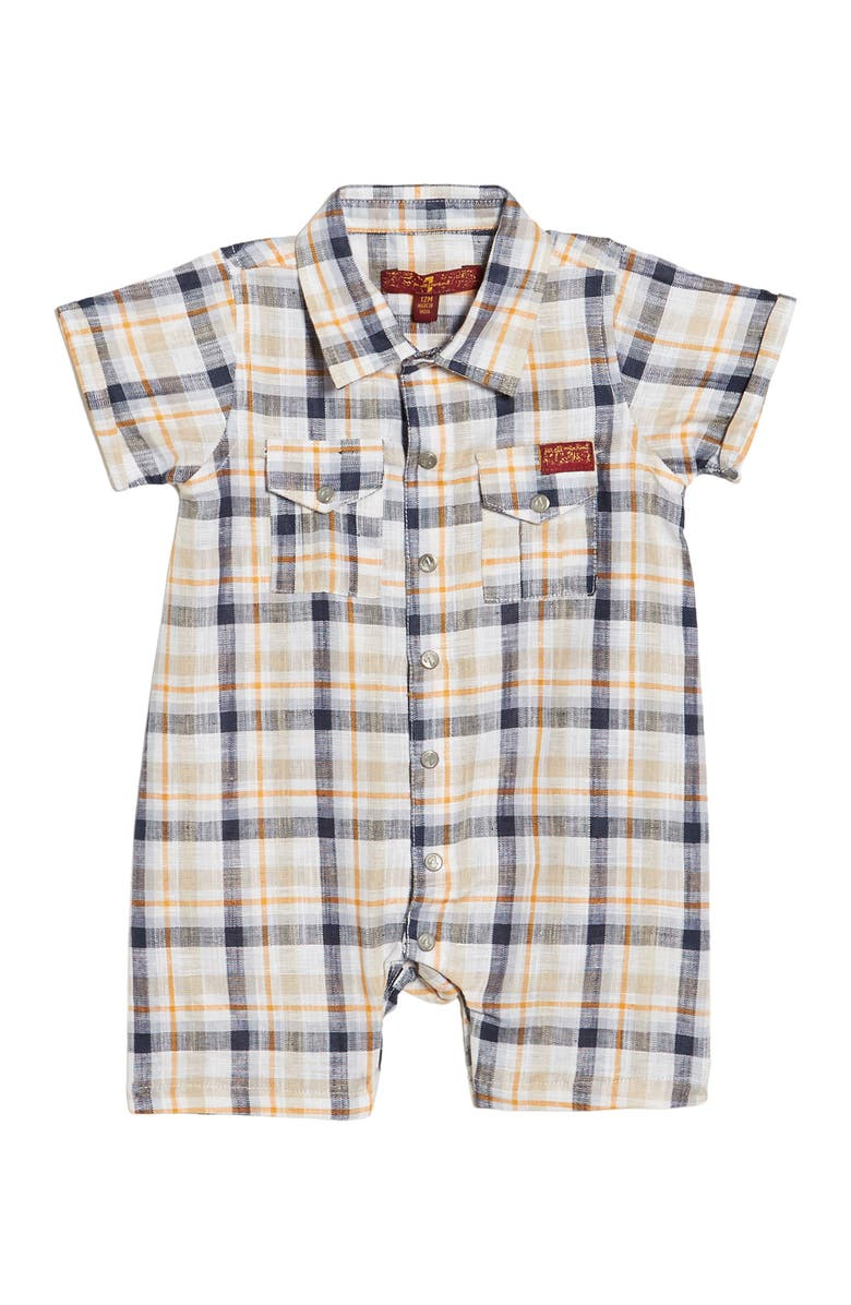 7 FOR ALL MANKIND Plaid Short Sleeve Romper, Main, color, WHITE