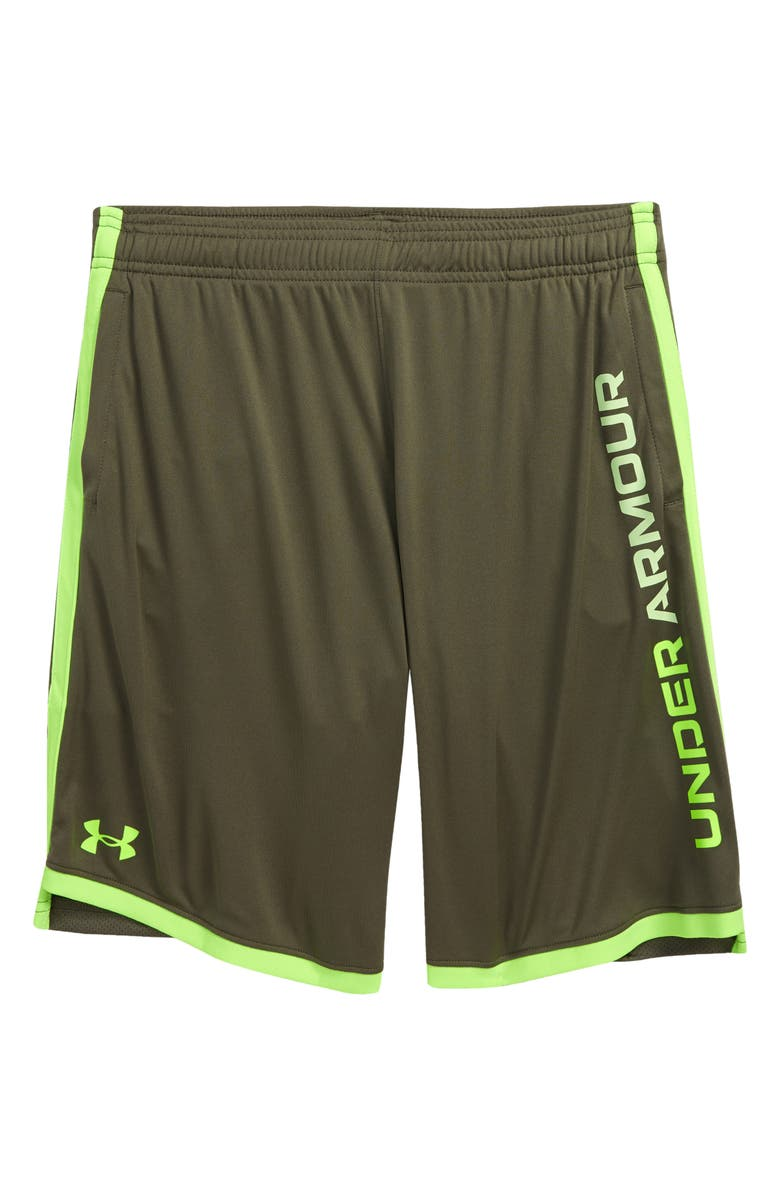 UNDER ARMOUR Kids' UA Stunt 3.0 Performance Athletic Shorts, Main, color, VICTORY / LIME / HYPER