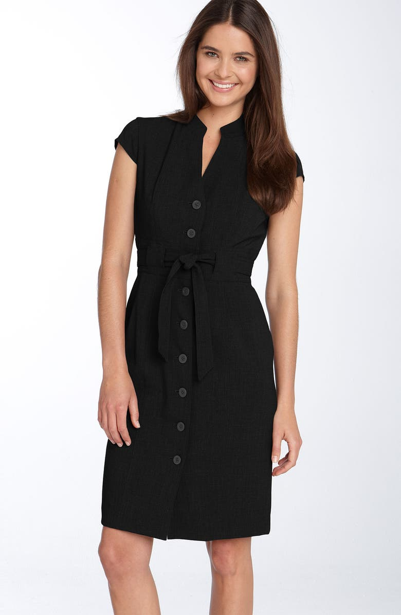 CALVIN KLEIN Belted Shirtdress, Main, color, 001