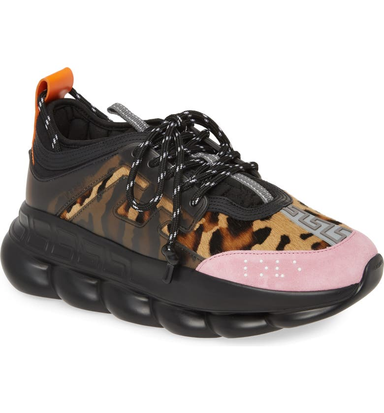 VERSACE Chain Reaction Sneaker, Main, color, 001