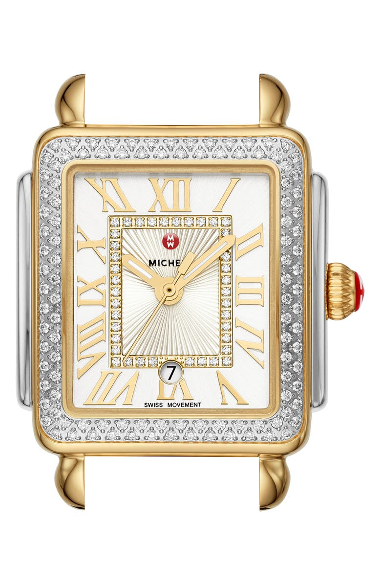 MICHELE Deco Madison Diamond Dial Watch Head, 29mm x 31mm, Main, color, GOLD/ SILVER/ WHITE