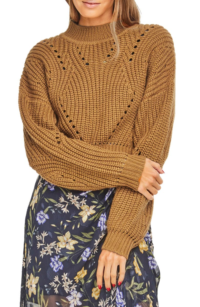 ASTR THE LABEL Carly Crop Sweater, Main, color, MUSTARD