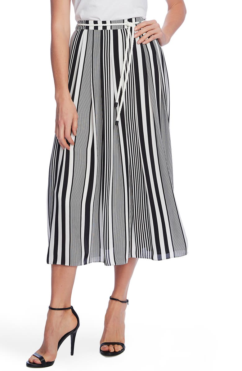 VINCE CAMUTO Variegated Stripe Rope Midi Skirt, Main, color, RICH BLACK