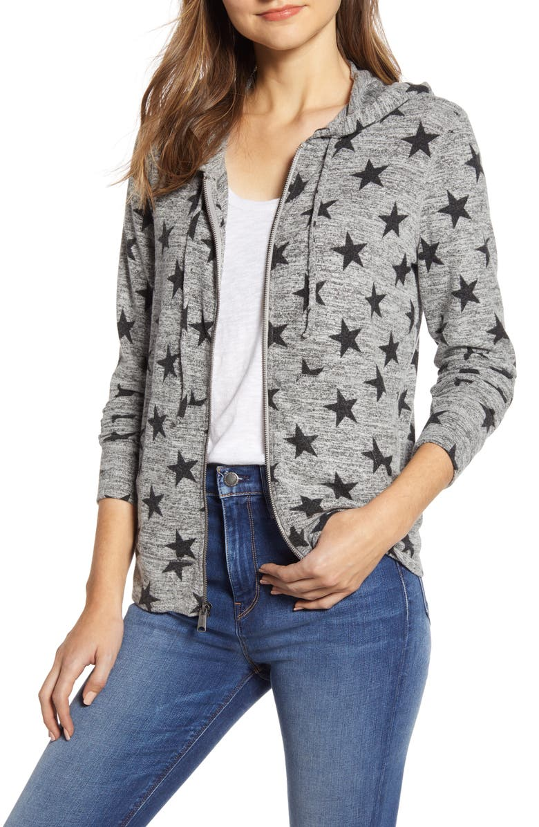 LUCKY BRAND Star Pattern Front Zip Hooded Cotton Blend Sweatshirt, Main, color, 060