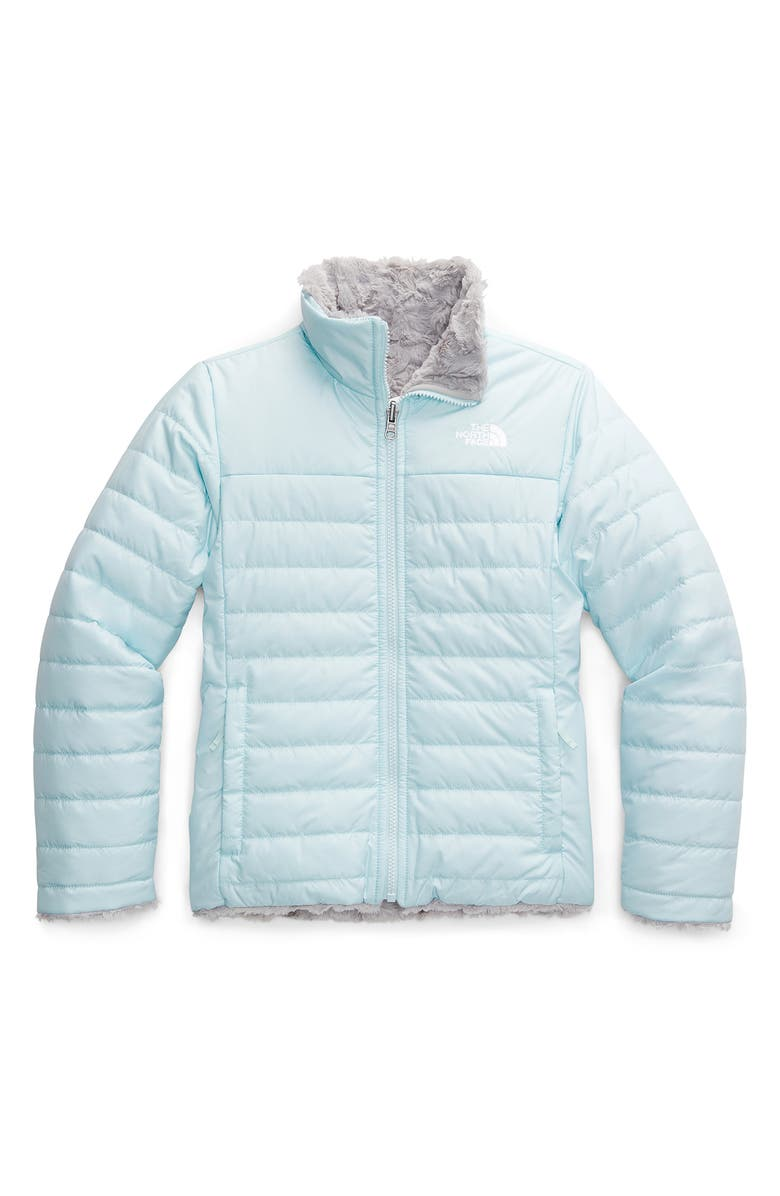 THE NORTH FACE Kids' Mossbud Swirl Reversible Water Repellent Heatseeker<sup>™</sup> Jacket, Main, color, STARLIGHT BLUE
