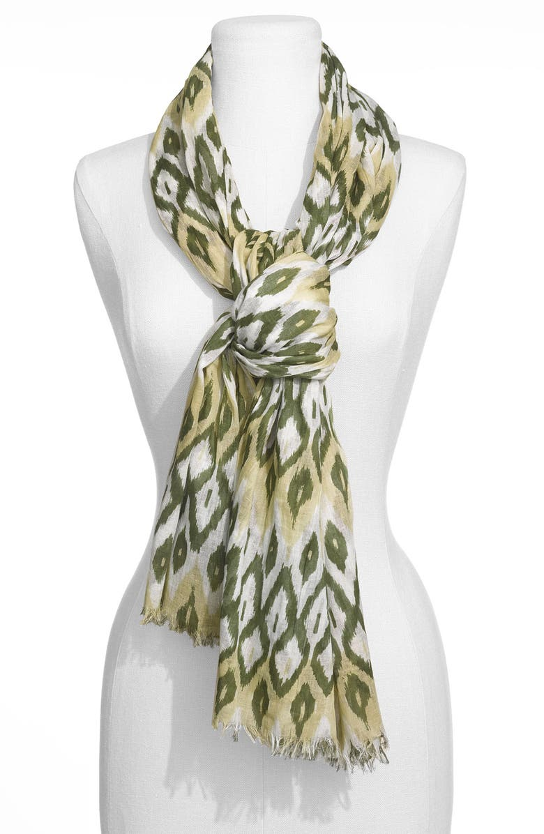 JANIE BESNER 'Large' Ikat Print Scarf, Main, color, 250