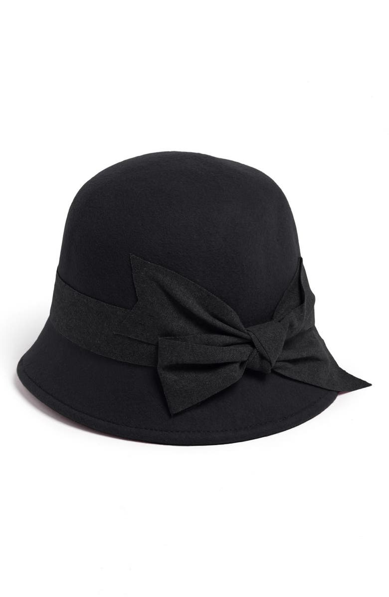 NORDSTROM Large Bow Wool Felt Cloche, Main, color, 001