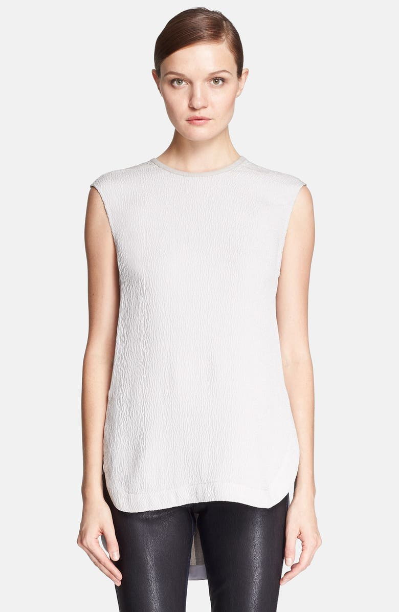 HELMUT LANG Leather Trim Textured Silk Top, Main, color, STONE