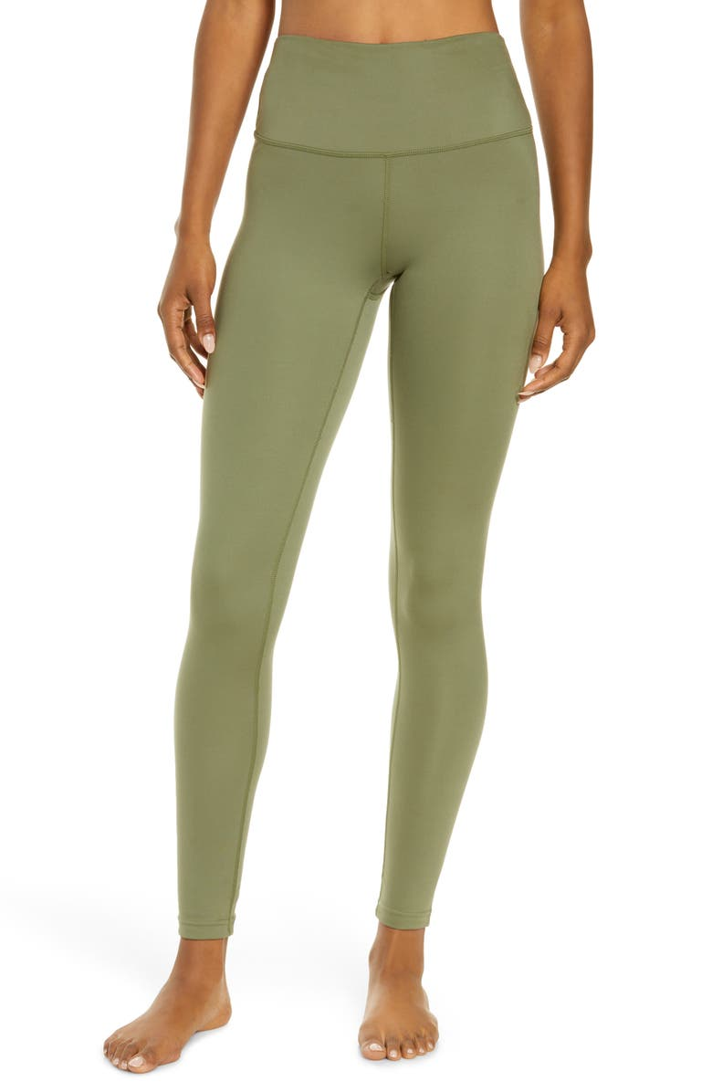 ZELLA Studio Lite High Waist Ankle Leggings, Main, color, OLIVE BRANCH