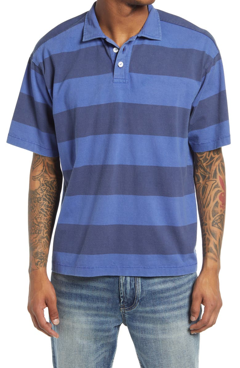 BP. Short Sleeve Rugby Polo, Main, color, BLUE DAZZLE STRIPE