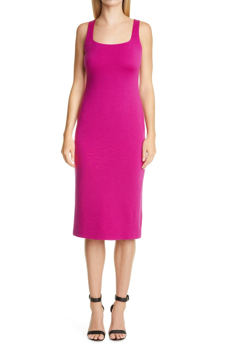 ST. JOHN COLLECTION Square Neck Milano Knit Sheath Dress, Main, color, ORCHID