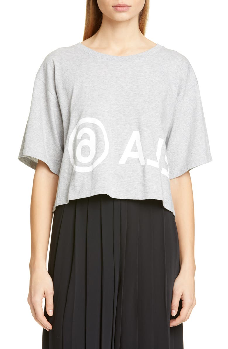 MM6 MAISON MARGIELA Logo Crop Tee, Main, color, 020