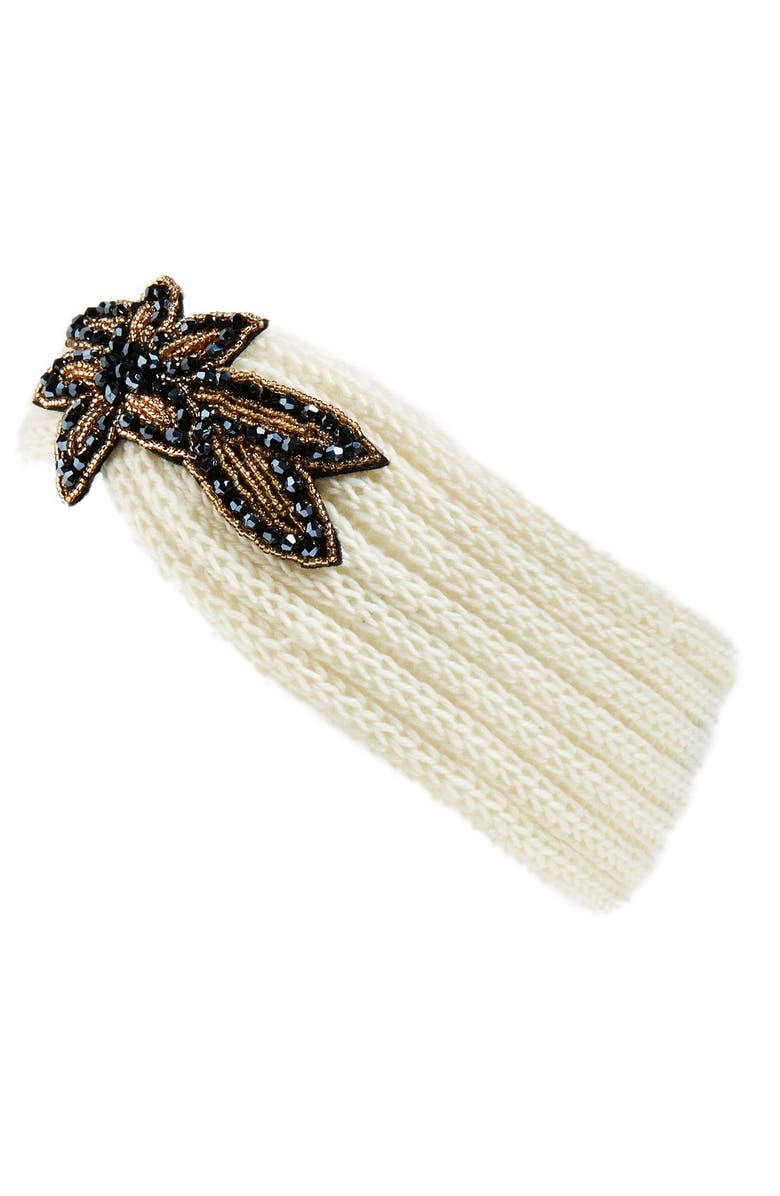 BP. Embellished Knit Head Wrap, Main, color, IVORY