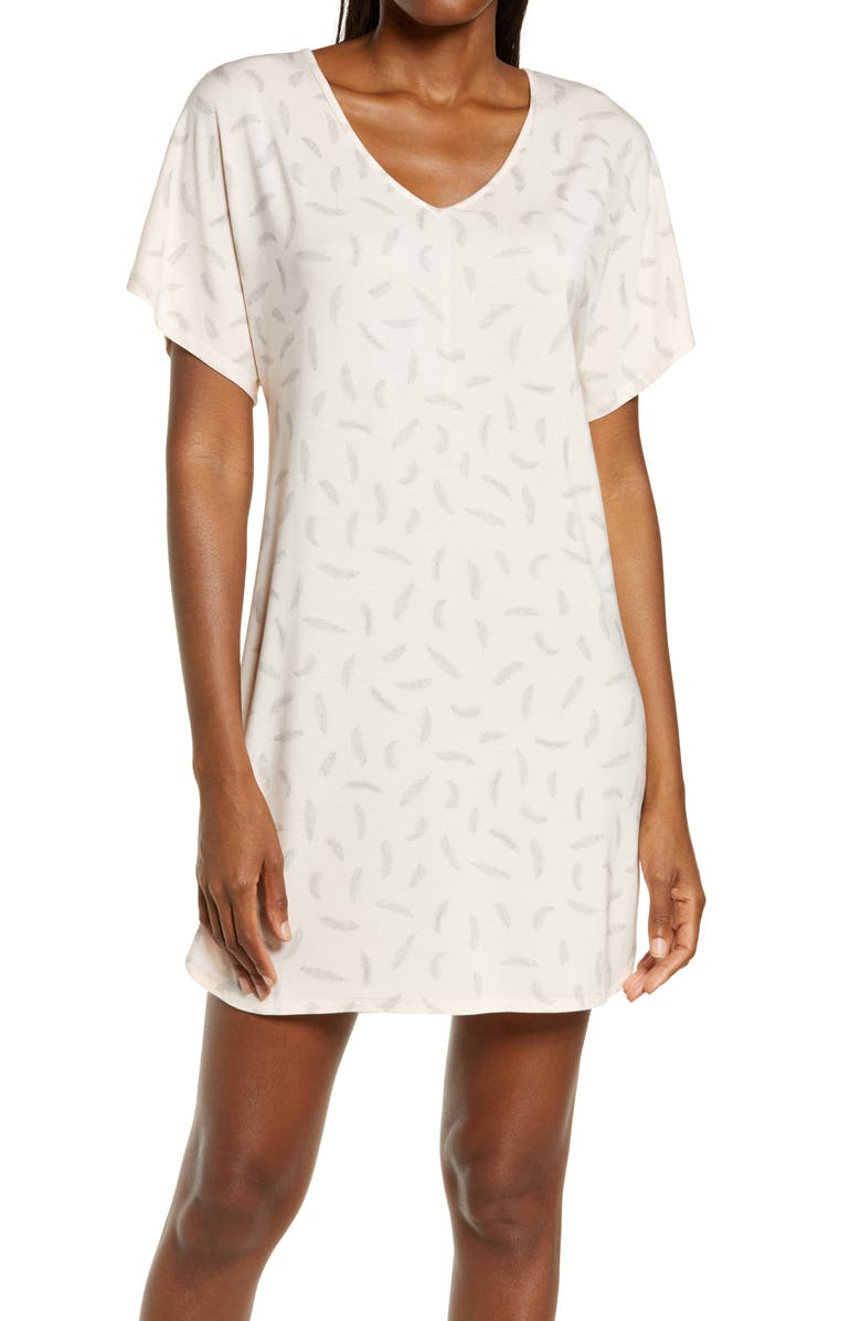 NORDSTROM Lingerie Moonlight Nightshirt, Main, color, PINK CREOLE FALLING FEATHERS