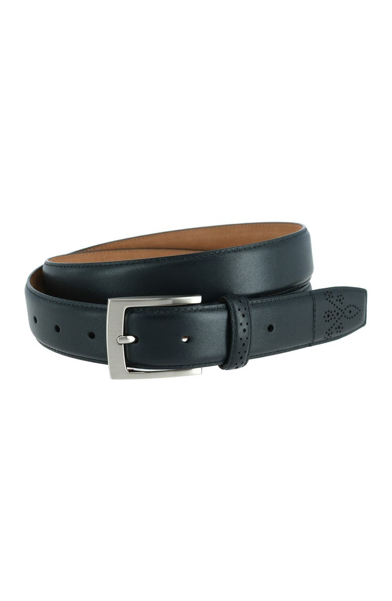 PHENIX Perforated Touch Leather Belt, Main, color, BLACK-001