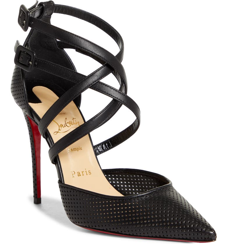 CHRISTIAN LOUBOUTIN Victorilla Strappy Pointed Toe Pump, Main, color, 001