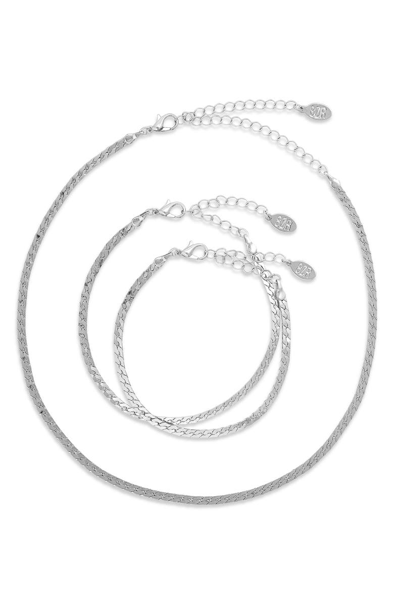 8 OTHER REASONS So Simple Necklace & Bracelet Pack, Main, color, SILVER