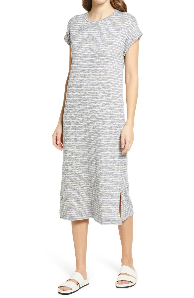 CASLON<SUP>®</SUP> Roll Sleeve T-Shirt Dress, Main, color, NAVY- WHITE COMBO
